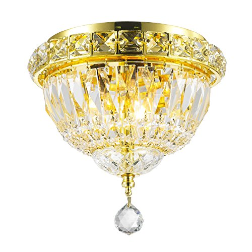 Worldwide Lighting Empire Collection 3 Light Gold Finish and Clear Crystal Flush Mount Ceiling Light 8