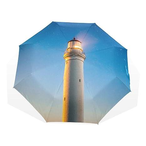 Amazon com : ATZUCL Warm Shining Lighthouse at Night Umbrella