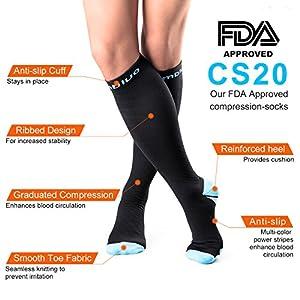 CAMBIVO Compression Socks Men and Women Performance Stockings Support for Running, Athletic Sports, Flight, Travel, Pregnancy, Nurses (Medium, Blue)