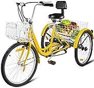 Happybuy Adult Tricycle Single Speed 7 Speed Three Wheel Bike Cruise Bike 24inch Seat Adjustable Trike with Be