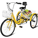 Happybuy Adult Tricycle Single Speed 7 Speed Three Wheel Bike Cruise Bike 24inch Seat Adjustable Trike with Bell, Brake System and Basket Cruiser Bicycles Size for Shopping (24inch, Yellow+ 7 Speed)