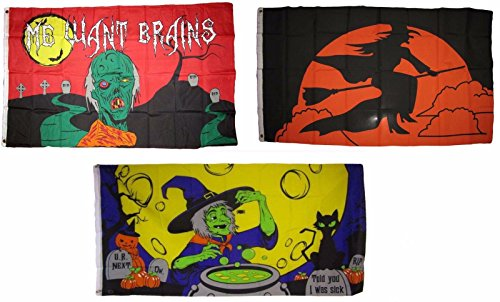 ALBATROS 3 ft x 5 ft Happy Halloween 3 Pack Flag Set #175 Combo Banner Grommets for Home and Parades, Official Party, All Weather Indoors Outdoors -