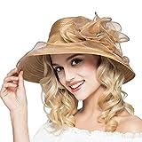 Eanny Womens Kentucky Derby Church Sun Hat Wide Brim Wedding Tea Party Beach Hat (Khaki)