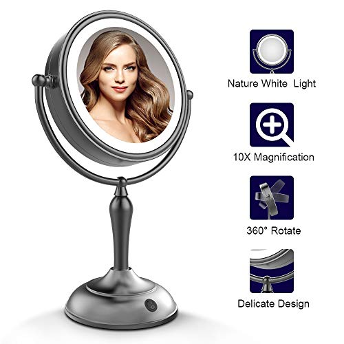 MIRRORMORE Lighted Makeup Mirror, 7.5 Inch Lighted Vanity Mirror, 1x/10x Magnifying Double Sided Mirror with Lights, AC Adapter Or Battery Operated, Natural White Light, Cord Or Cordless, Black