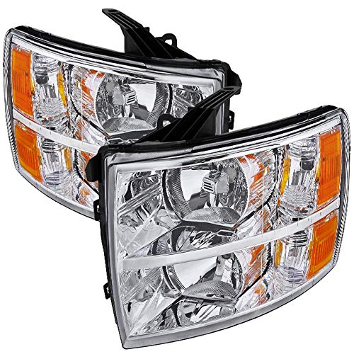 Carpartsinnovate For 07-14 Chevy Silverado 1500 2500 3500 Replacement Headlights Head Lamps Clear