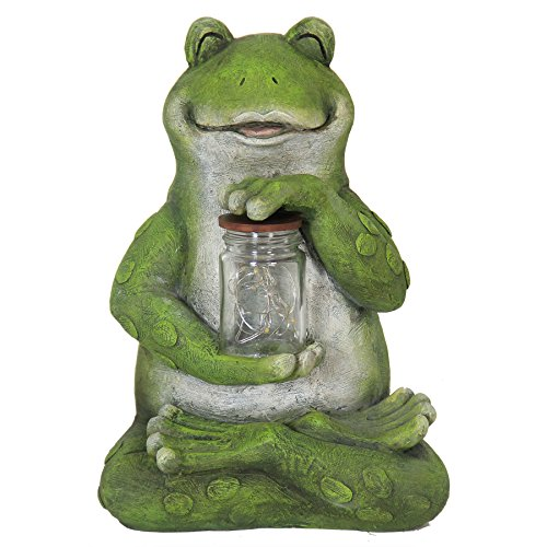 Exhart Frog with LED Firefly Jar Statue, Solar Powered, Resin & Glass, Weather Resistant, Indoors & Outdoors, 7