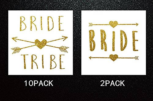 12 pack Bride and Bride Tribe Temporary Tattoos/ Metallic Shiny Gold Team Bride Flash Tattoos/ Bachelorette Party Supplies and Accessories Favors by Astra - Bride Cookies
