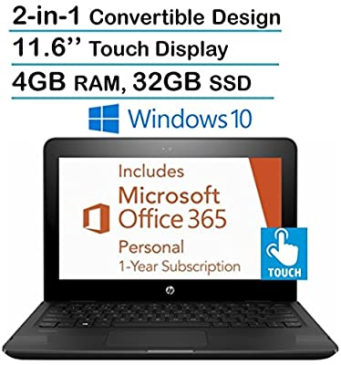"""2017 New Edition HP X360 11.6"""" HD Touchscreen 2-in-1 Convertible Laptop PC, Intel Dual Core N3060, 4GB RAM, 32GB SSD, HDMI, Bluetooth, Windows 10- Free 1 Year Office 365 Personal Subscription"""