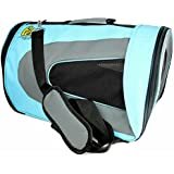 Soft-Sided Pet Travel Carrier (Airline Approved) for Cats, Small Dogs, Puppies and Other Pets by Pet Magasin (Large, Blue)