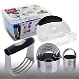 Pastry Cutter Set Pastry Scraper Biscuit Cutter Set (5 Circle+1 Fluted Edge) Dough Blender Mixer Cookie Cutters Round Baking Dough Tools & Pastry Utensils with Egg Separator GIFT BOX!
