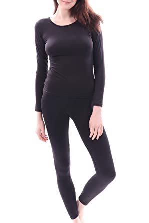 9450b42c12d072 Women's Microfiber Fleece Thermal Underwear Long Johns Set AZ 2000 Black S