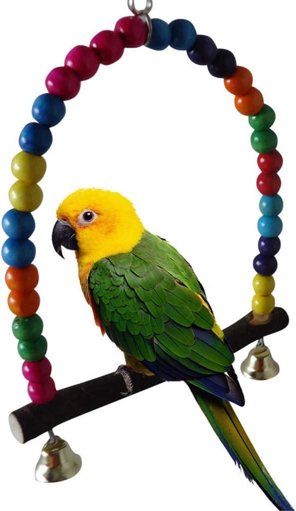 WGE Juguetes para Mascotas Pequeños Loros medianos Soporte para pájaros Barra giratoria Escalera Mordedura Masticar Juguete Columpio Estación elevada Suministros para pájaros,10CM