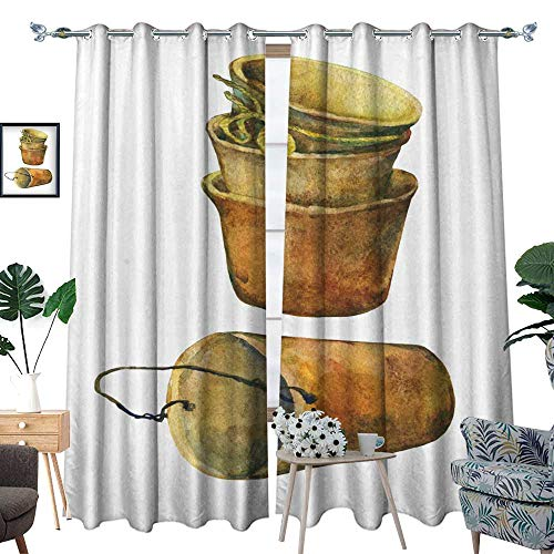 homehot Room Grommet Indoor Curtains Aged Patina on Terra Cotta Plant pots Hand Drawn Watercolor Painting on White Background 2 W84 x L108 Drapes