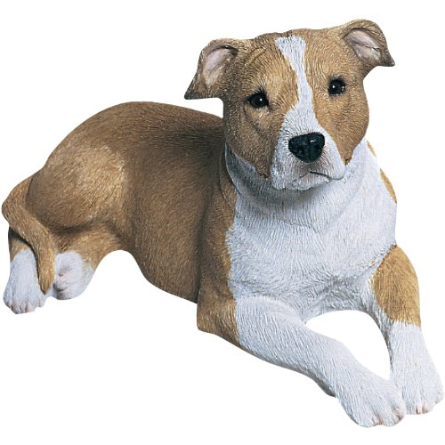 Sandicast Mid Size Fawn and White Pit Bull Terrier Sculpture, Lying ()