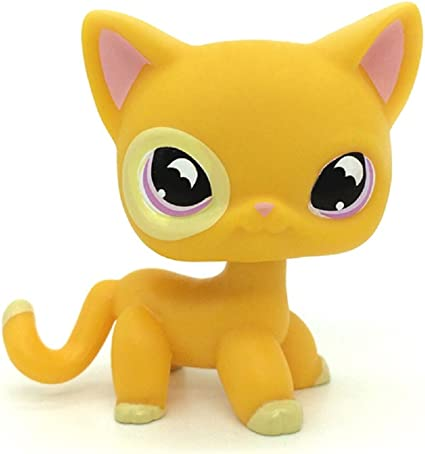 Littlest Pet Shop LPS Toys #933 Orange Star Eyes Pink /& Purple Shorthair Cat