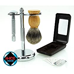 Wet Shave Kit - Shaving Kit Includes Pure Badger Shaving Brush, Chrome Stand & Double Edge Razor, with 5 Double Edge Razor Blades ; Premium Shave Set, Men Shaving Set, Valentines Day Gifts, Valentines Day Gifts for Him(premium Shaving Set)