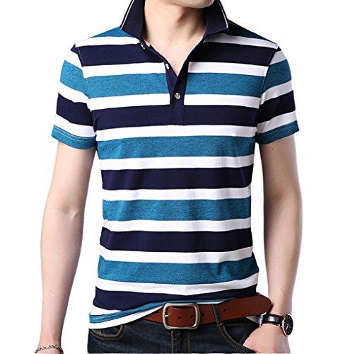 [もうほうきょう] ポロシャツ 半袖 メンズ  ボーダー カジュアル スポーツウェア ゴルフウェア シンプル 通気性 薄手 吸汗 夏 polo Tシャツ 全3色