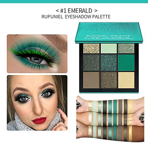 New Pearl Glitter Eye Shadow Powder Palette Matt Eyeshadow Cosmetic Makeup 9 Color (Green) ()