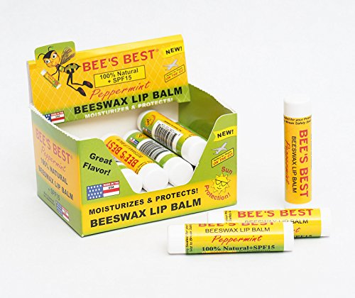 (LOT 2 boxes-36 units Bee's best lip balm peppermint beeswax 100% natural + SPF1 ##bolgarka81)