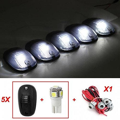 Partsam 5x5-5050-SMD 168 White LED bulb Smoke 822072AC Roof Cab Marker Clearance Light+T10 Harness for 2003-2012 Dodge Ram 1500 2500 3500 4500 5500 (Cab Lights With Wiring compare prices)