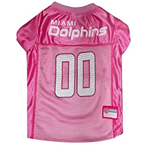 Pets First NFL MIAMI DOLPHINS DOG Jersey Pink, Medium. - Football Pet Jersey in PINK