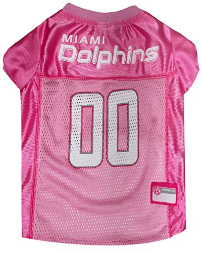 NFL Miami Dolphins Dog Jersey Pink, Small. - Football Pet Jersey in Pink