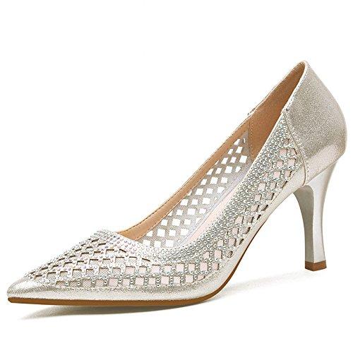 KPHY Spikes Sandalias La Primavera Y El Verano Finos Tacones De 8 Cm De Tacon Alto Zapatos Vaciado Único Simple Zapatos De Mujer. Golden