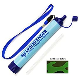 Life Defender Water Filter Straw - Water Straws - Portable Water Filters for Camping, Hiking or Survival Bug Out Bag - World's Most Advanced Water Filtration System 80 Life Saver in your pocket! Small with no moving parts, a must have for your next camping/hiking/fishing/travel adventure The ultralight and compact camping water filter design allows you to easily fit in your pocket or bag without added weight Outperforms Leading Brands: Filters 50% more gallons than the LifeStraw Personal Water Filter (up to 1500L/396 gal). Removes 99.9% of waterborne bacteria and protozoan parasites