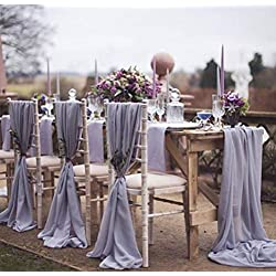 "SoarDream 27"" x120 inch Chiffon Table Runner 20 Pieces of Gray Gorgeous Romantic Wedding Party Top Table Birthday Decorations"