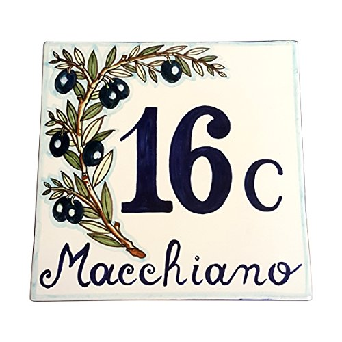 CERAMICHE D'ARTE PARRINI - Italian Ceramic Art Pottery Tile Custom House Number Civic Address Plaques Decorated Olive Hand Painted Made in ITALY ()