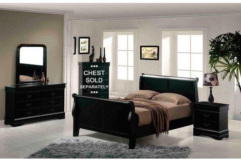 Acme 19500Q Louis Philippe III Queen Bed, Black