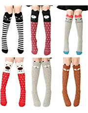 CISMARK Cartoon Animal Cat Bear Fox Cotton Over Calf Knee High Socks 6 Colors One Size