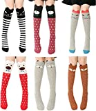 CISMARK Cartoon Animal Cat Bear Fox Cotton Over Calf Knee High Socks, 6 Colors, One Size