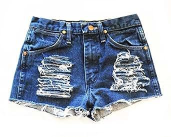 Vintage Wrangler Women's Jeri High Waisted Denim Jean Shorts Trendy Cut Off-XXXL