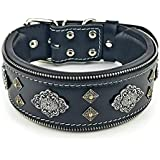 "Bestia""Aztec Black Genuine Leather Big Dog Collar. Unique Rivet Design. Soft Padded"