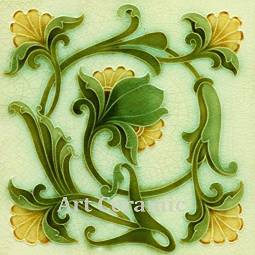 Art Nouveau Ceramic Tile 6 Inches Reproducction #0038