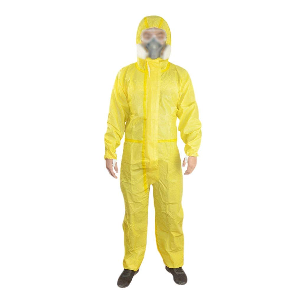 Disposable Coveralls, Light Chemical Acid and Alkali Protective Overalls, Dust-Proof Paint One-Piece Hooded Disposable Protective Clothing, Yellow (Size : XL) by YYTL