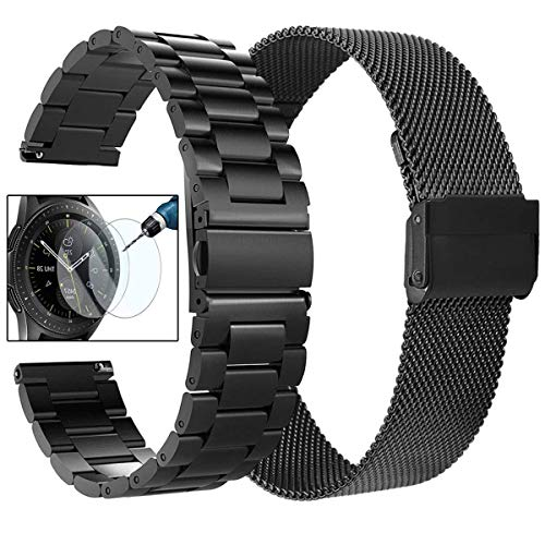 Koreda Compatible with Samsung Galaxy Watch (42mm)/Galaxy Watch Active/Active2 Bands Sets, 20mm Stainless Steel Metal Band + Mesh Loop Replacement Bracelet Strap for Ticwatch E/Gear Sport Smartwatch