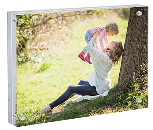 Momentous Frames Premium Clear Acrylic Magnetic Display Photo Frame 8x10 Inches | 24mm Thickness Block Double Sided Frameless Picture View Free Standing (Frame Standing Insert Desk 8x10)