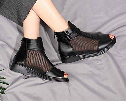 MEILI Sandalias de cuña de malla botas zapatos netos pendiente plana con zapatos de mujer black