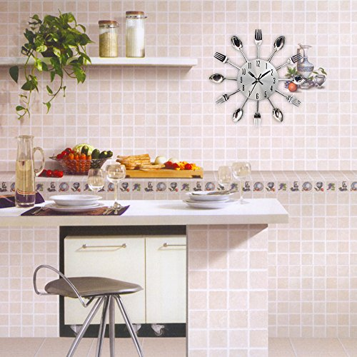 Timelike Kitchen Wall Clock, 3D Removable Modern Creative Cutlery Kitchen Spoon Fork Wall Clock Mirror Wall Decal Wall… 3