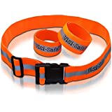 Reflective Running Belt and ArmBands (Pair) Reflective Running Gear Keeps Runners Safe or Cycling, Walking High Visibility Clothing and Hi Vis Gear -Adjustable Running Gear