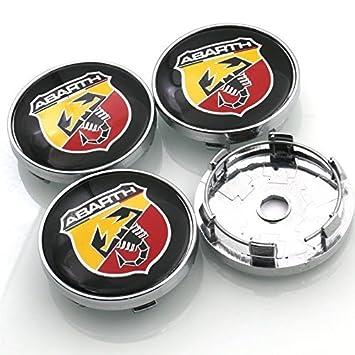 Tapacubos Fiat Abarth de 60 mm, logo remaches llantas en aleación: Amazon.es: Coche y moto