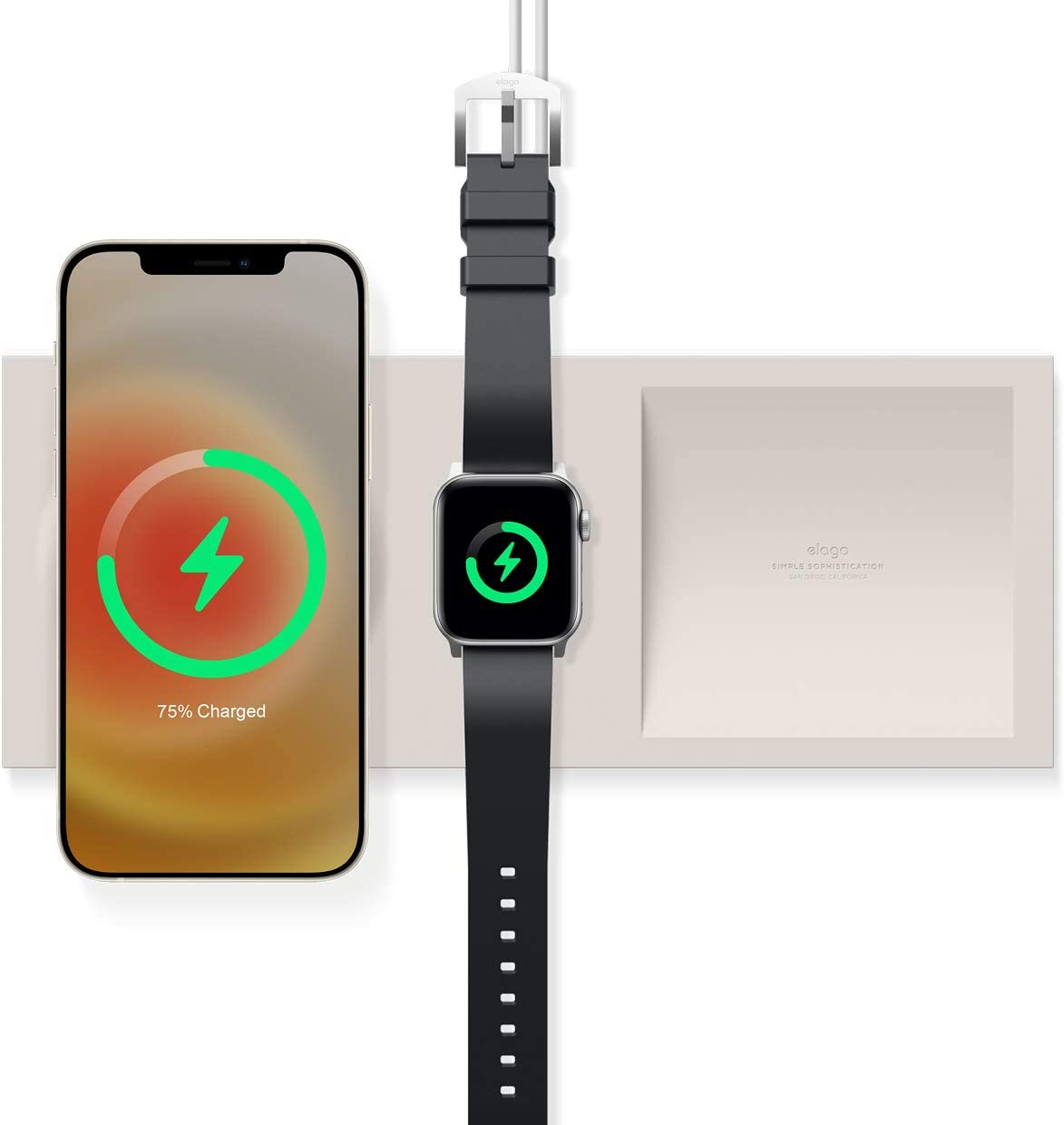 elago MS Charging Tray Duo Compatible with MagSafe Charger and Compatible with Apple Watch Charger - Compatible with iPhone 12 Models and Compatible with Apple Watch [Stone] [Charger Not Included]