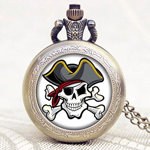 Fashion Pirate Skull Quartz Pocket Watch Men Women Unisex Dress Necklace Pendant Bronze Vintage Fob Watch -