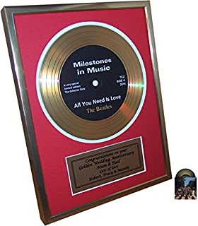 Personalised Framed Gold Record Disc 1st Silver Or Golden Wedding Anniversary Gift And Bonus Beatles