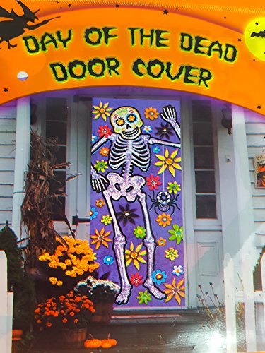 Day of the Dead Sugar Skull Door Cover ( 30 in x 72 in.) -