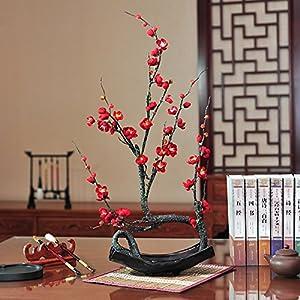 FYYDNZA Living Room Decoration Decoration Chimonanthus Emulation Flower Suit Fake Flower Plum Zen Home Study Decoration,Black Gold Basin Red 34