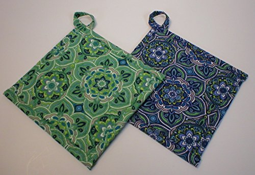 Handmade Quilted Pot Holders with Hanging Loops, Hot Pads or Trivets, Set of 2, Blue Green Modern Print, About 7