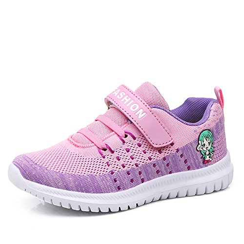 kashiwu Neue Unisex Atmungsaktive Sport Laufschuhe Klett Leichte Sport und Freizeit Tennis Schuhe Laufschuhe Pink